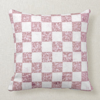 Pink shabby tartan Throw Pillow