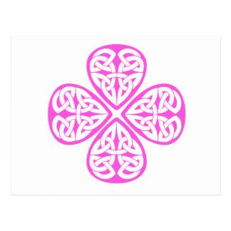 pink shamrock celtic knot postcards