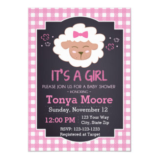 Pink Sheep Baby Shower Invitation