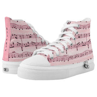 Pink  Sheet Music Personalized Back High Tops