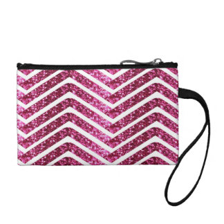 Pink Shiney Glittery Look Chevron Bling Coin Wallet