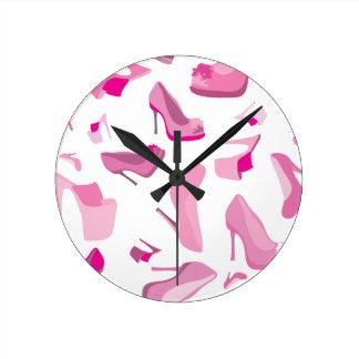 Pink shoe Monster wall clock