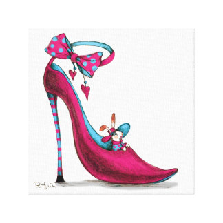 Pink Shoes with Rabbit Canvas Print