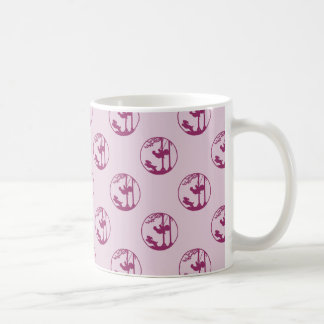 Pink Silhouette of Child Swinging with Dog Coffee Mug