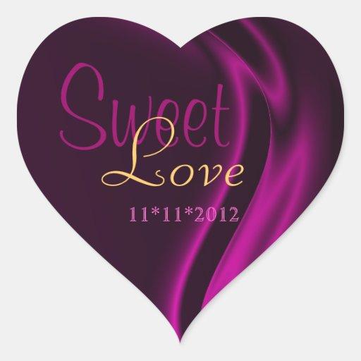 Pink Silk Heart Candy Buffet Sticker