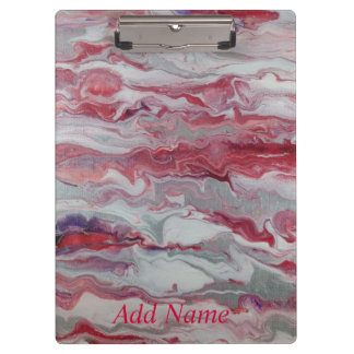 Pink Silver Abstract Personalized Clipboard