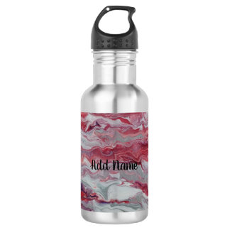 Pink Silver Abstract Personalized Water Bottle