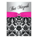 Pink, Silver, and Black Damask Bat Mitzvah Invite 13 Cm X 18 Cm Invitation Card