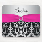 Pink, Silver, and Black Damask Mousepad
