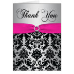 Pink, Silver, and Black Damask Thank You Card