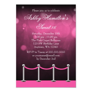 Pink Silver Carpet Hollywood Sweet 16 Birthday Invites