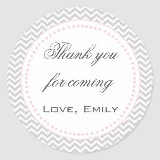 Pink Silver Chevron Thank You Label
