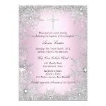 Pink Silver Crystal Snowflake Baptism/Christening 13 Cm X 18 Cm Invitation Card