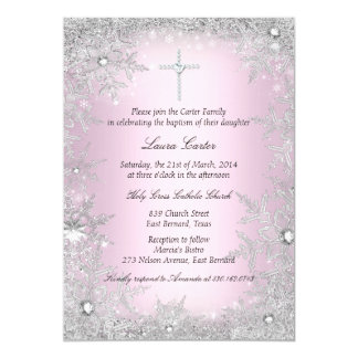 Pink Silver Crystal Snowflake Baptism/Christening Card