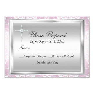Pink Silver Damask & Cross Baptism RSVP Reply Card