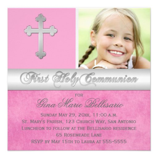 Pink, Silver First Holy Communion Photo Invitation