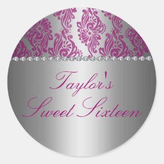 Pink & Silver Floral Print Sweet 16 Sticker