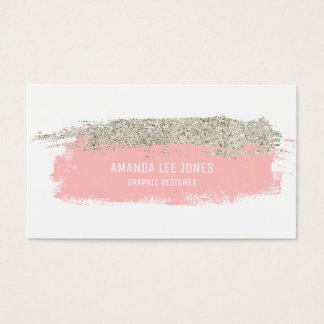 Pink & Silver Glitter Brush Strokes