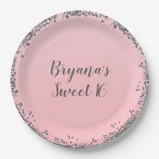 Pink Silver Glitter Glam Edge Sweet 16 Party Paper Plate