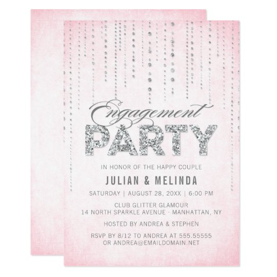 Pink & Silver Glitter Look Engagement Party Card