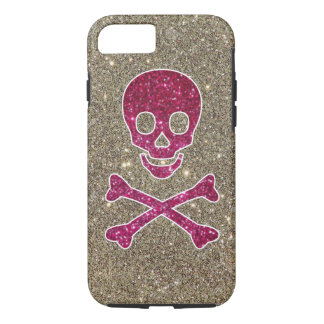 Pink & Silver Glitter Skull Phone Case