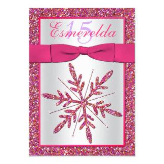 Pink, Silver Glitter Snowflake Quinceanera Invite