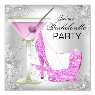 Pink Silver High Heel Shoes Bachelorette Party 13 Cm X 13 Cm Square Invitation Card