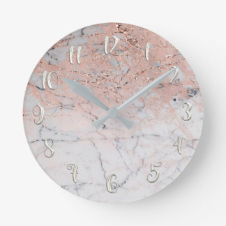 Pink Silver Marble Modern Glamour Personalized Round Clock