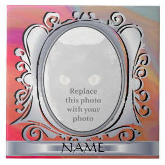Pink Silver Oval Photo Frame with Name Tile