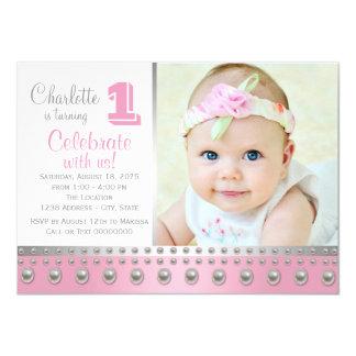 Pink Silver Pearl First Birthday 11 Cm X 16 Cm Invitation Card