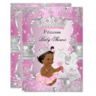Pink Silver Princess Baby Shower Ethnic Invitation
