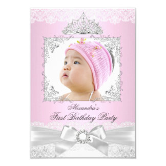 pink & Silver Princess Girl First Birthday Party Card