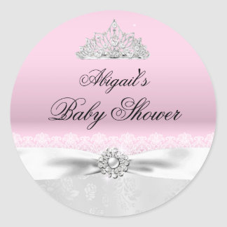 Pink & Silver Princess Tiara Baby Shower Sticker