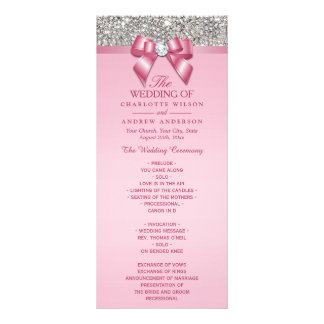 Pink Silver Sequin Diamond Bow Wedding Program Rack Card