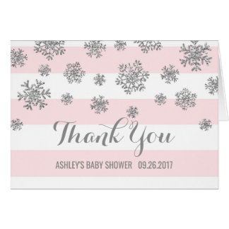 Pink Silver Snowflakes Baby Shower Thank You Card