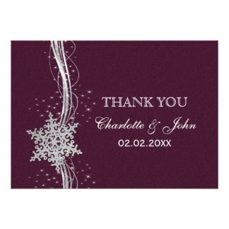 pink Silver Snowflakes Winter wedding Thank You Invite