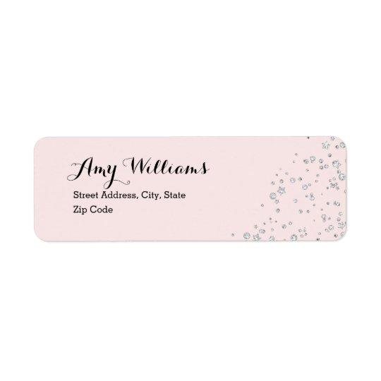 Pink Silver Sparkle Address Label