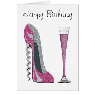Pink, Silver Sparkle Corkscrew Stiletto Art Card