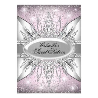 "Pink & Silver Sparkle Diamond Sweet 16 Invite 4.5"" X 6.25"" Invitation Card"