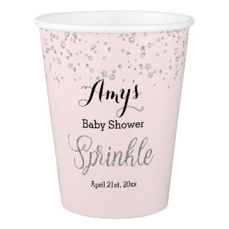 Pink Silver Sprinkle Baby Shower Cups