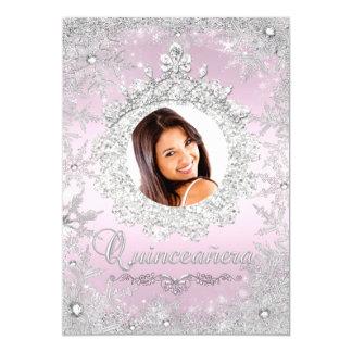 "Pink Silver Tiara Snowflake Sparkle Quinceanera 5"" X 7"" Invitation Card"