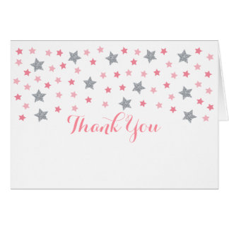 Pink & Silver Twinkle Star Baby Shower Thank You Card