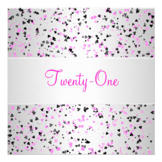 Pink Silver White Black Love Hearts 21st Birthday Invitations