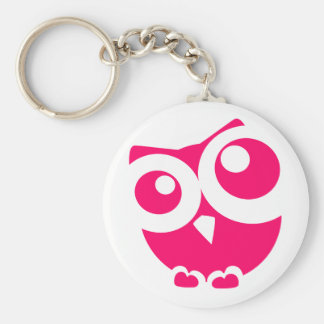 Pink Simple Owl Key Ring