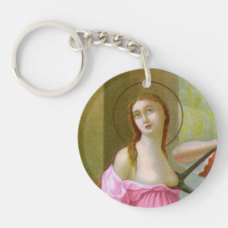Pink Single Image St. Agatha (M 003) Key Ring