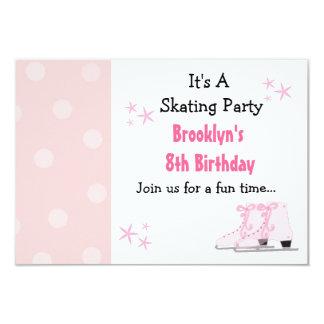 "Pink Skating Party Birthday Invitation 3.5"" X 5"" Invitation Card"