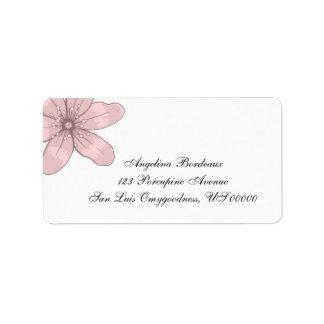 Pink Sketched Vintage Flower Address Label