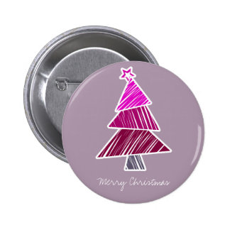 Pink Sketchy Christmas Tree Button