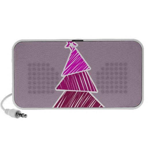 Pink Sketchy Christmas Tree Doodle Speakers