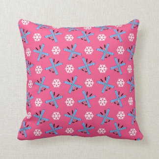 Pink skis and snowflakes pattern throw cushion